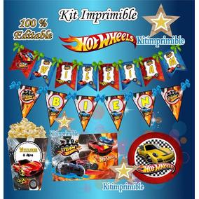 Kit Imprimible Hot Wheels Candy Bar Etiquetas Marcos Regalos