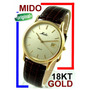 Mido Gold Moderno Em Ouro 18k 750 Maciço, Elegante!