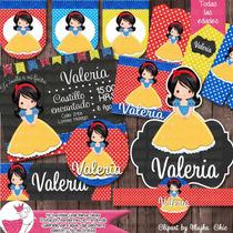 Kit Imprimible Blanca Nieves Fiesta Bolo Piñata Recuerdo