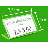 Display De Preço Etiqueta Buffet 7,5x4cm Em Ps Cristal