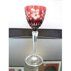 Taça Cristal Água Vermelha Bohemia