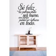 Viniles Decorativos Vinilo P/ Pared Frases Letras Se Feliz
