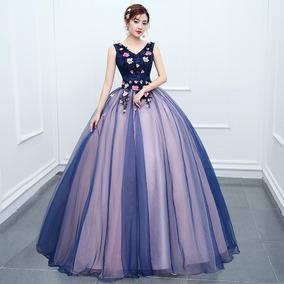 Vestido Debutante Festa 15 Anos 357 Noivas Promoção Azul