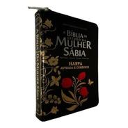 Bíblia De Estudo  Mulher Sábia Letra Grande Harpa E Zíper