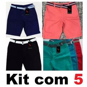 Kit 5 Bermudas Sarja Masculino Jeans + 1 Cinto De Brinde