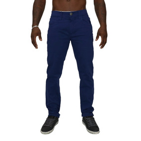 Calça Masculina Slim Fit Azul Em Sarja