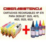 Cartuchos Recargables Hp 670 Para Deskjet 3525 4615 4625 552