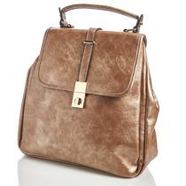 Hermosa Bolsa Mochila De Piel Para Mujer,color Bronze Claro