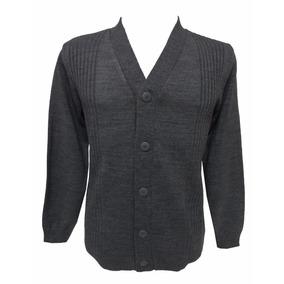 Casaco Cardigan Masculino Trico Lã Decote V Plus Size
