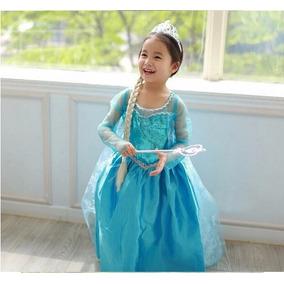 Vestido Disfraz Elsa Frozen Con Capa