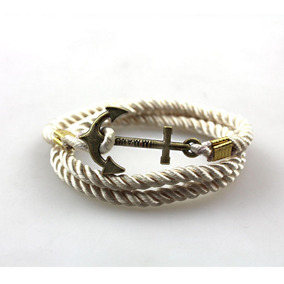 Pulsera Ancla Dorada Cordón De Algodón Oro Antiguo Steel
