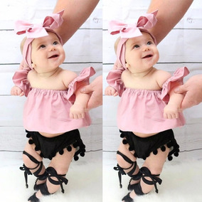 87bf8391d2 Ropa Moda Para Niña Hermoso Conjunto Rosa Con Negro Turbante