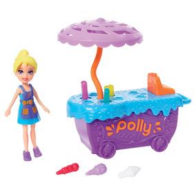 Playset E Mini Boneca Polly Pocket - Carrinho De Sorvete E P