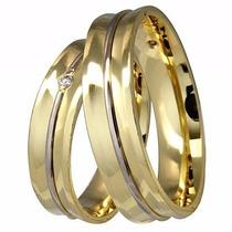 Um Par De Alianças Em Ouro Amarelo E Branc18k (750) Ref 1087