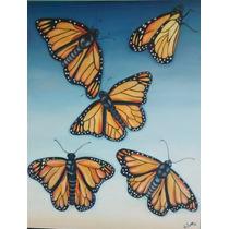Pintura Óleo Mariposas Monarca