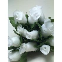 144 Mini Rosas Brancas Flores Rosinhas Artificiais Cetim