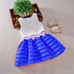 Vestido De Festa Infantil Menina Princesa Criança Renda Azul
