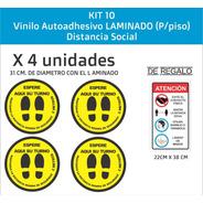 Vinilos P/ Piso, Distanciamiento Social, X4 Unid. Laminadas