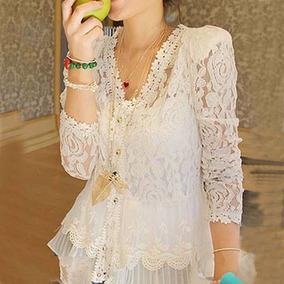 Linda Blusa Renda Branca Elegante Mulheres Casual Romântica