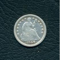 Moneda Ee.uu. 1849 5 Cents Km#62.2 (plata)