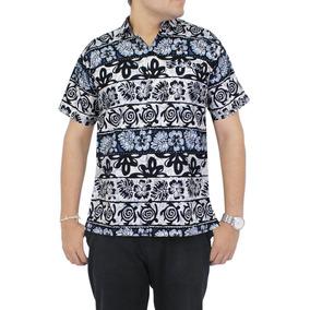 Camisa Hawaiana La Leela Algodón P/hombre Negro Playa Collar