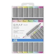 Marcador Artístico Graf Duo Brush 6 Cores Tons Pastel Cis