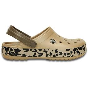 Crocs Crocband Mujer Gold-black-leopard
