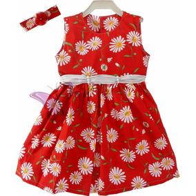 Lindo Vestido Festa Vermelho C Margarida Brancas Laço Pérola