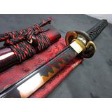 Espada Katana Verdadeira Lâmina Negra Afiada Aço T-10