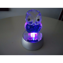 Enfeite Ornamento Coruja De Cristal Com Base Led