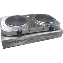 Anafe Electrico Doble Winco Acero Cocina 2 Hornallas 2000w