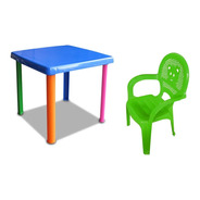 Mesa Infantil + 1 Silla De Plástico Para Niños Varios Colore