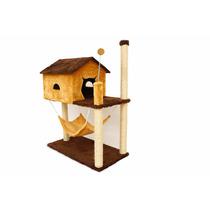 Arranhador De Gato Casa Com Rede + 3 Bolinhas Gratis