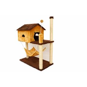 Arranhador De Gato Casa Com Rede Cama Brinquedo