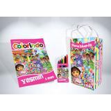 50 Kit De Colorir Dora Aventureira Revista Sacola Lembrança
