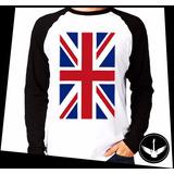 Manga Longa Bandeira Uk Inglaterra Reino Unido Camisa Blusa