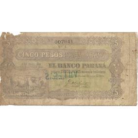Billete Antiguo 5 Pesos Bolivianos Banco Parana Año 1868