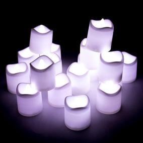 24 Velas Luz Led Blanca Fiesta Decoracion Boda Arreglos Vela