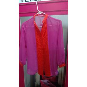 Preciosa Blusa De Gasa De Dama Color Violeta Con. Naranja