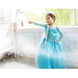 Vestido Fantasia Infantil Disney Frozen Elsa Cosplay Complet