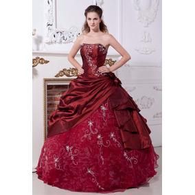 Vestido Quince 15 Años Bordó Rojo Strapless Bordado Importad