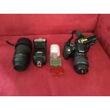 Camara Nikon D3200 Zoom 55-300 Flash Sb-700 Lente 18-55