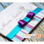 10 Convites De Aniversário Tema Frozen, Azul E Roxo Com Laço
