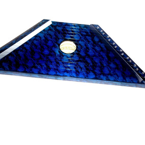 Mini Harpa Cítara Azul Nova Na Caixa Acompanha 10 Partituras