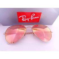 Oculos Rayban Aviador Original Rosê Espelhado Lançamento