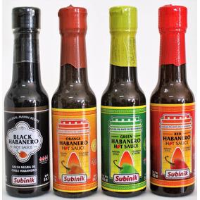Salsa Chile Habanero Kut Negro, Naranja, Verde Y Rojo (4 Pz)