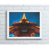 Quadro 40x50 Com Moldura Branca Famosa Torre Eiffel