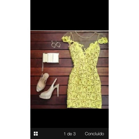 Vestido Renda Amarelo Tamanho P(38)