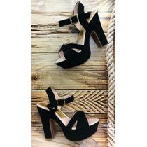 Zapato Tacón Mujer Dama Sandalia Plataforma Color Negro