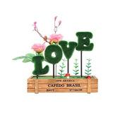 Amor Planta Artificial Con Cerca De Madera / Amor Decoración
